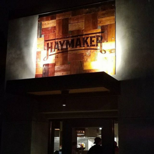 Haymaker Bar and Grill Wood Burned Sign - Installed