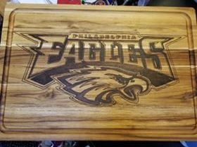 Client's photo of his Philadelphia Eagles Logo Cutting Board