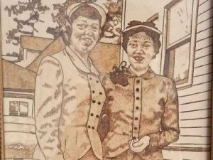Old School Sisters - Pyrography on Leather Portrait